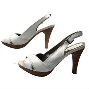 "Kelly & Katie White  Leather Slingback 4"" heel"